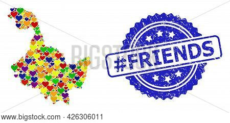 Blue Rosette Distress Watermark With Hashtag Friends Caption. Vector Mosaic Lgbt Map Of Heilongjiang