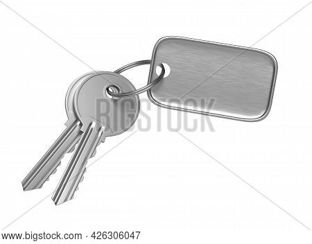 Metal Door Key With Steel Keyring And Blank Label For Text Or Number Isolated On White Background. 3