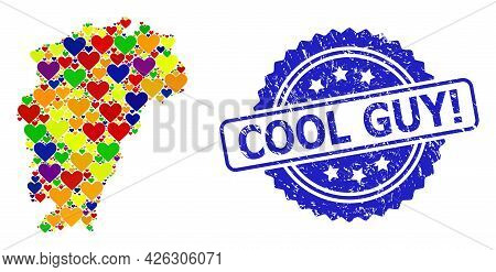 Blue Rosette Rubber Seal With Cool Guy Exclamation Message. Vector Mosaic Lgbt Map Of Jiangxi Provin