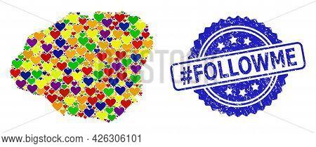 Blue Rosette Grunge Seal Imprint With Hashtag Followme Caption. Vector Mosaic Lgbt Map Of Kauai Isla