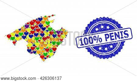 Blue Rosette Textured Watermark With 100 Percent Penis Caption. Vector Mosaic Lgbt Map Of Majorca Wi