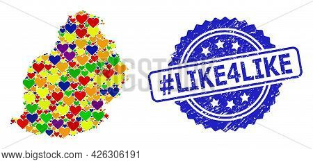 Blue Rosette Rubber Seal With Hashtag Like4like Message. Vector Mosaic Lgbt Map Of Mauritius Island