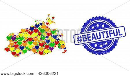 Blue Rosette Distress Watermark With Hashtag Beautiful Caption. Vector Mosaic Lgbt Map Of Mecklenbur