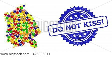 Blue Rosette Textured Stamp With Do Not Kiss Exclamation Caption. Vector Mosaic Lgbt Map Of Pavlodar