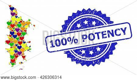 Blue Rosette Scratched Watermark With 100 Percent Potency Title. Vector Mosaic Lgbt Map Of Phuket Wi