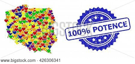 Blue Rosette Scratched Stamp With 100 Percent Potence Caption. Vector Mosaic Lgbt Map Of Poland With