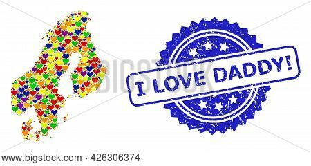 Blue Rosette Textured Seal Imprint With I Love Daddy Exclamation Title. Vector Mosaic Lgbt Map Of Sc