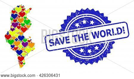 Blue Rosette Distress Seal Stamp With Save The World Exclamation Text. Vector Mosaic Lgbt Map Of Tun