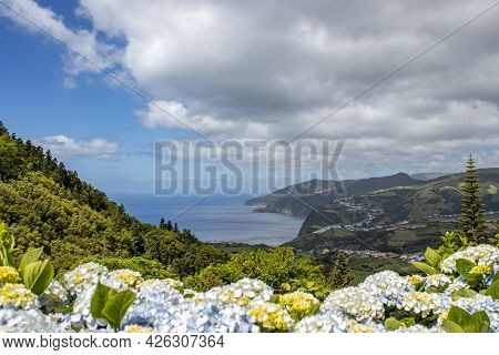 View Over The Atlantic Ocean, Azores Islands, Hiking Paradise.