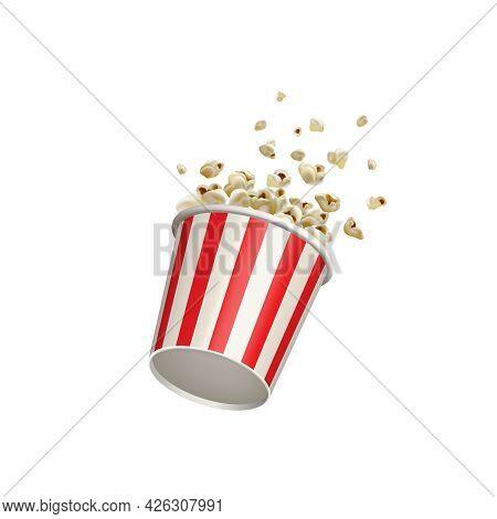 Popcorn Splash Movie Round Bucket Cup. Realistic Vector Cinema Pop Corn Paper Bowl Red White Box. Bl