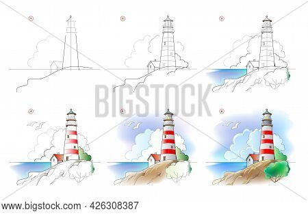 How To Learn To Draw Sketch Of Landscape With Lighthouse. Creation Step By Step Watercolor Painting.
