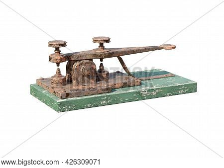 Antique Electric Telegraph Machine Isolated On White Background. 3d Rendering