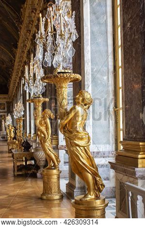 Versailles, France - July 24, 2011: Statues On The Terrace Of The Hall Of Mirrors At Chateau De Vers