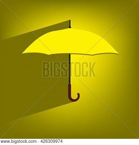 Classic Open Umbrella Poster - Yellow Umbrella. Vector Illustration.