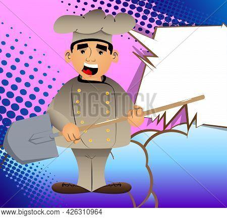 Fat Male Cartoon Chef In Uniform Holding A Shovel. Vector Illustration. Cook Ready To Dig.