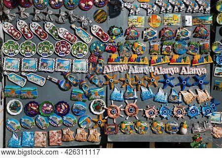 Alanya, Turkey-Oct 20, 2020: Alanya tourist souvenirs in street shop , Alanya. Turkey.