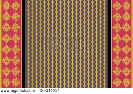 Abstract Ethnic Pattern. Design Fabric Seamless Background And Texture.