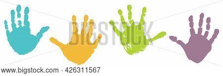 Handprints Of Palms Of Child, Color Set. Vector Illustration.
