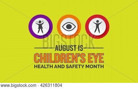 Children's Eye Health And Safety Month Banner, Poster, Card, Background Awareness Template. Raise Aw
