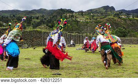 Chobshi, Azuay, Ecuador - June 20,2021: Celebration Inti Raymi At Chobshi Archaeological Site. Group