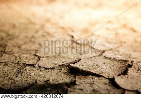 Cracked Dry Soil Ground. Ecology System Crisis, Global Warming Issues Concept. Land Without Water. H