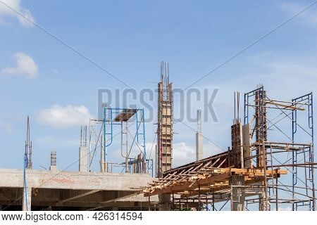 Building And Construction Site In Progress, Beam Formwork Fabricated By Construction Worker, Pillar