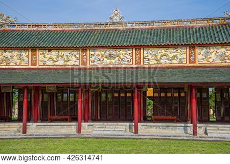 Hue, Vietnam - January 07, 2016: Fragment Of The Gallery Of The Old Imperial Palace