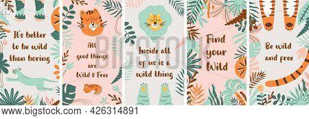 Summer Set Of Nature Social Media Stories, Tropical Plants, Cute Tiger, Jungle Leaf In Vector. Socia