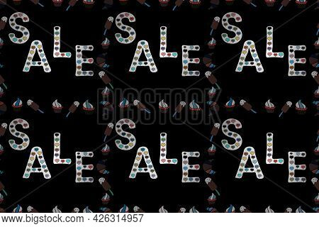 Seamless Pattern. Raster. Promotion Offer With Nice Elements Decoration In White, Black Colors. Card
