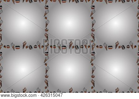 Seamless Pattern. Raster. Comic Style Doodle Frame Consists Of Black, Orange And White Border.