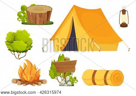 Set Camping Equipment Campfire, Tent, Lantern, Shovel And Axe, Travel Backpack And Bush In Cartoon S