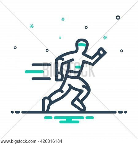 Mix Icon For Running Race Man Runner Jogger Athletics Sports