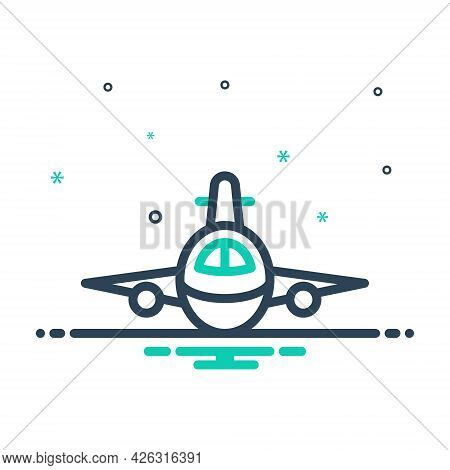 Mix Icon For Plan Aeroplane Flying Aircraft Airline Passenger Travel Transport Transportation