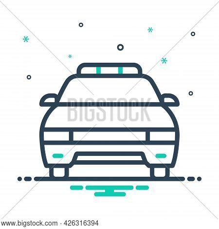 Mix Icon For Police-car Vehicle Car Cop Patrolling Transportation Light Surveillance Detective