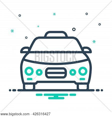 Mix Icon For Taxi Cab Automobile Transportation Vehicle Rental Passenger