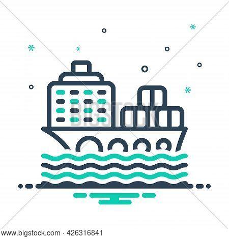 Mix Icon For Cargo-ship Cargo Ship Container Transport Ocean