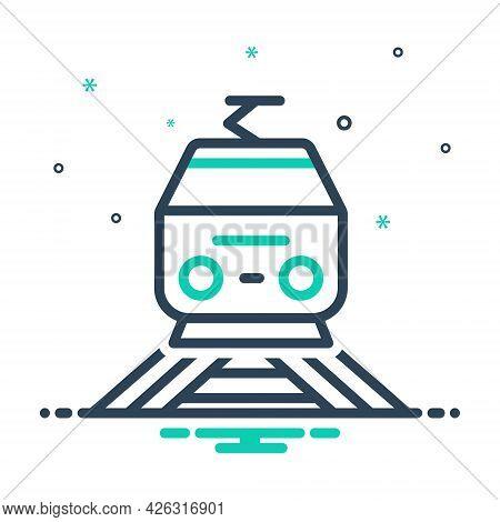 Mix Icon For Railway Train Subway Tram Rail Transport Railroad Track