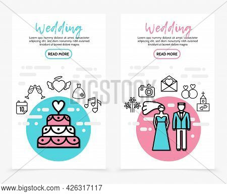 Wedding Line Icons Vertical Banners With Cake Calendar Date Drinking Glasses Heart Dress Music Note