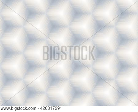 Seamless Abstract White And Light Grey Textured Geometric Cube Pattern. Symmetric Ornament For Digit