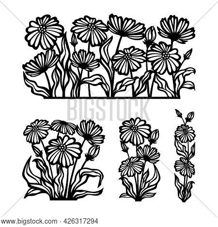Set Of Silhouettes Of Flowers Drawn With Black Lines. Chamomile Bouquets, Buds, Petals, Leaves, Stem