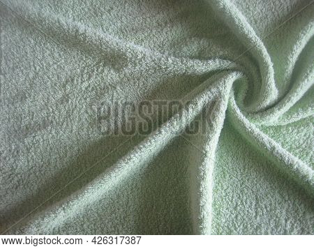 Light Green Terry Towel. Color Terry Towel Texture Background
