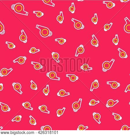 Line Whistle Icon Isolated Seamless Pattern On Red Background. Referee Symbol. Fitness And Sport Sig