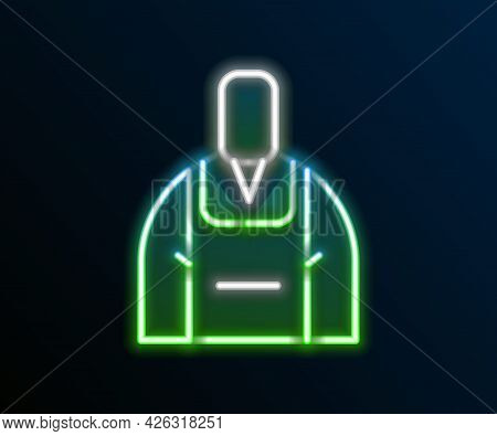 Glowing Neon Line Barista Icon Isolated On Black Background. Colorful Outline Concept. Vector