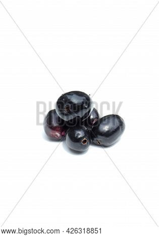 Closeup Of Malabar Plum Or Jamun Isolated On White Background In Vertical Orientation, Also Known As