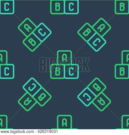 Line Abc Blocks Icon Isolated Seamless Pattern On Blue Background. Alphabet Cubes With Letters A, B,