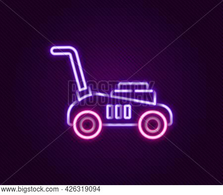 Glowing Neon Line Lawn Mower Icon Isolated On Black Background. Lawn Mower Cutting Grass. Colorful O