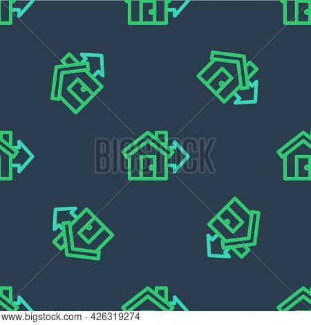 Line Sale House Icon Isolated Seamless Pattern On Blue Background. Buy House Concept. Home Loan Conc