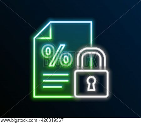 Glowing Neon Line Finance Document And Lock Icon Isolated On Black Background. Paper Bank Document F