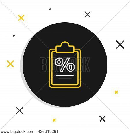 Line Finance Document Icon Isolated On White Background. Paper Bank Document For Invoice Or Bill Con