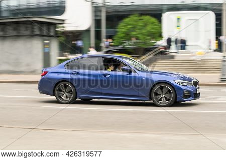 Moscow, Russia - May 2021: Bmw 3 Series G20 In Motion. Blue Sedan Car Moving On The Street